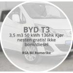 2020 BYD T3 3,5 m3 50 kWh 136hk. Som ny! kun 75 mil! Doble skyvedører, topphengslet bakluke.