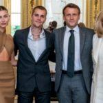 Justin y Hailey Bieber se reúnen con el presidente francés en París