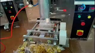 ポップコーンフードスナックホッパータイプカップ投与測定垂直バッグフォームフィルシール機符号化機能テストビデオ